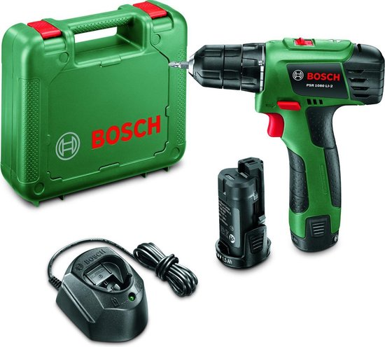 Bosch PSR 1080 LI-2 Accuboormachine - 10,8 V - Met 2 Li-Ion accu's